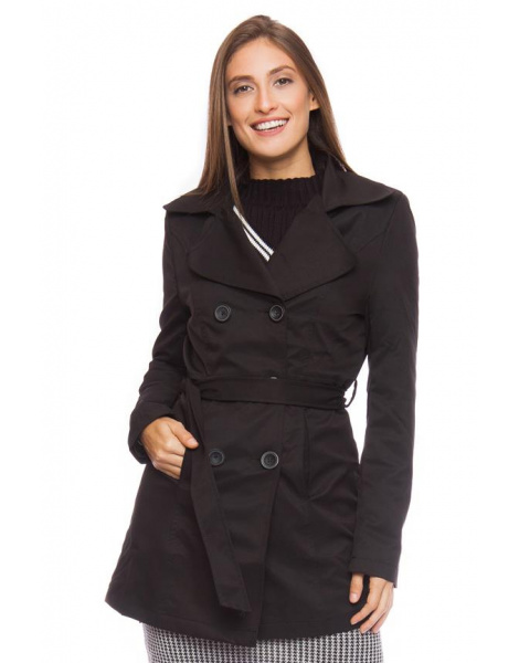 Trench Coat Gabardine Windsor Preto