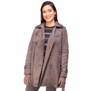 Trench Coat Suede Chumbo